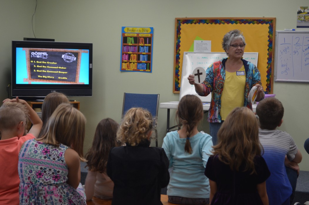 Image of Deb teaching the K-5 grade students during Children's Church