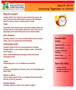 Screenshot of March 2019 Appleton Community EFC newsletter